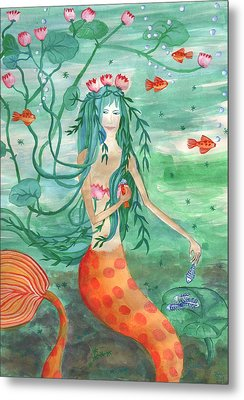 Lily Pond Mermaid With Goldfish Snack Metal Print by Sushila Burgess