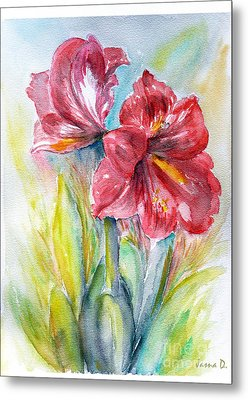 Metal Print featuring the painting Lily Red by Jasna Dragun
