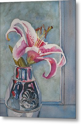 Lily With Carnations Metal Print by Jenny Armitage