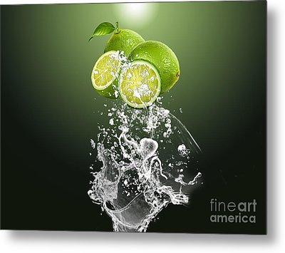 Lime Splash Metal Print