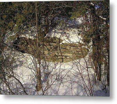 Limestone And Snow Metal Print by Richard Mitchell