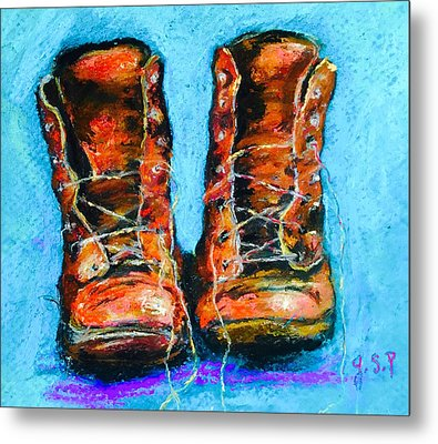 Limited Edition Wayward Shoe Laces Metal Print by Julia S Powell