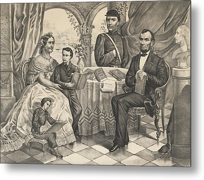 Lincoln And His Family Metal Print by American School