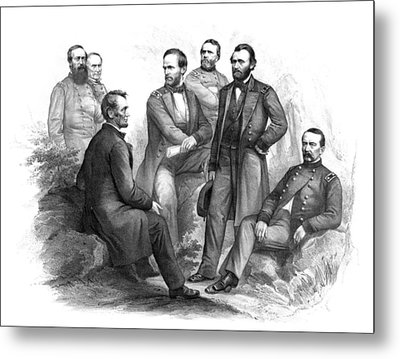 Lincoln And His Generals Black And White Metal Print