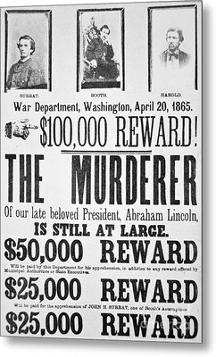 Lincoln Assassination Wanted Poster Metal Print by American School