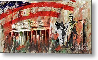 Metal Print featuring the painting Lincoln Memorial And Lincoln Statue by Gull G