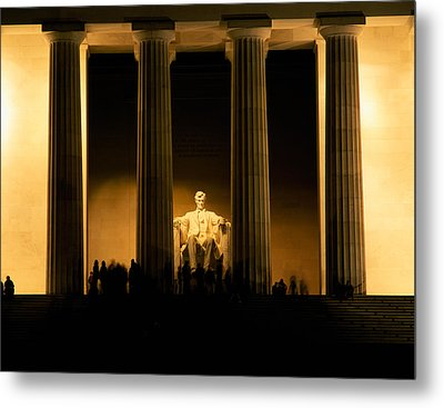 Lincoln Memorial Illuminated At Night Metal Print by Panoramic Images