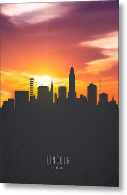 Lincoln Nebraska Sunset Skyline 01 Metal Print
