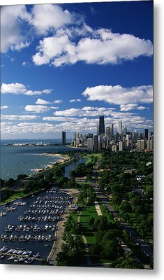 Lincoln Park And Diversey Harbor Metal Print by Panoramic Images
