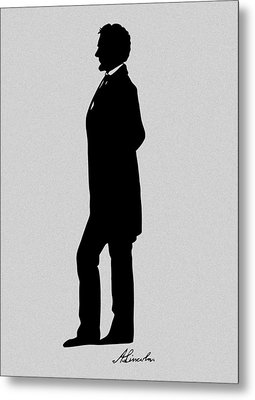 Lincoln Silhouette And Signature Metal Print by War Is Hell Store