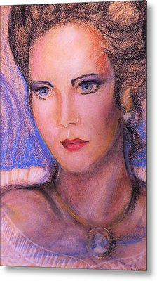 Metal Print featuring the pastel Linda Carter by Denise Fulmer