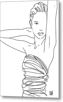 Line Art Lady Metal Print by Giuseppe Cristiano