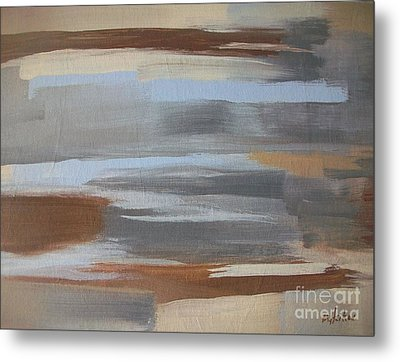 Linear Browns And Blues Metal Print by Marsha Heiken