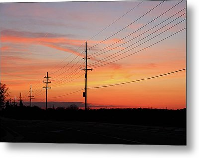 Lineman's Sunset Metal Print