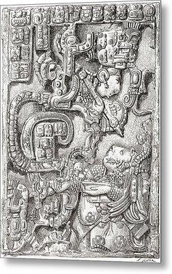 Lintel 25 Of Yaxchilan Structure 23 Metal Print
