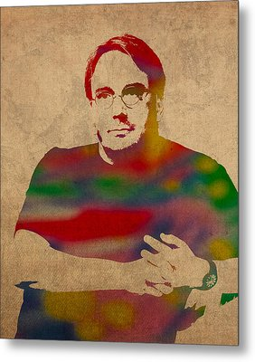 Linus Torvalds Linux Creator Watercolor Portrait On Worn Canvas Metal Print by Design Turnpike