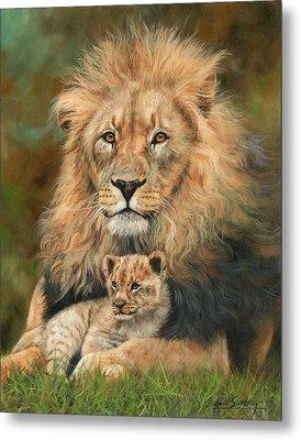 Lion And Cub Metal Print by David Stribbling