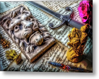 Lion And Dagger Metal Print by Garry Gay