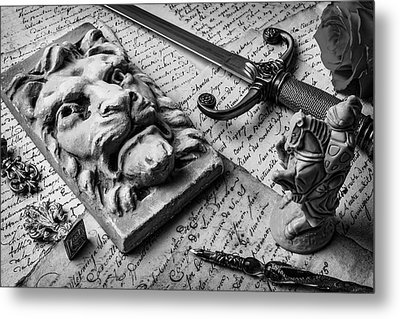 Lion And Dagger In Black And White Metal Print by Garry Gay