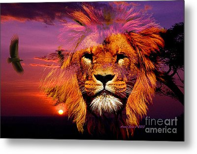 Lion And Eagle In A Sunset Metal Print