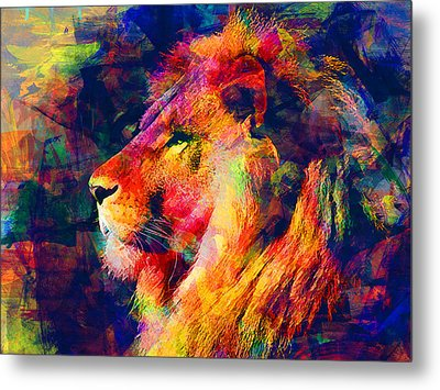 Lion Metal Print by Elena Kosvincheva