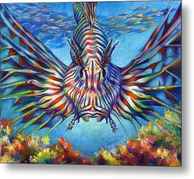 Lion Fish Metal Print by Nancy Tilles