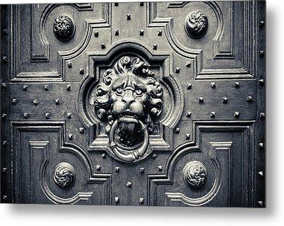Lion Head Door Knocker Metal Print by Adam Romanowicz