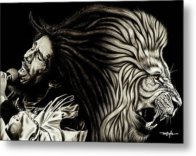 Lion Heart -bob Marley Metal Print by Dan Menta