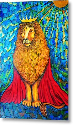 Metal Print featuring the painting Lion-king by Rae Chichilnitsky