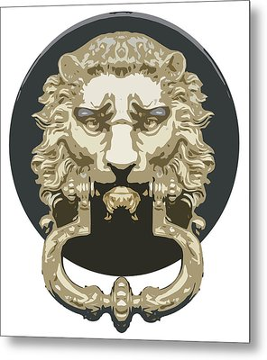 Lion Knocker Metal Print