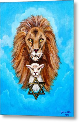 Metal Print featuring the painting Lion Lies Down With A Lamb by Bob and Nadine Johnston