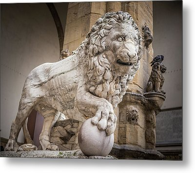 Lion On The Porch Metal Print