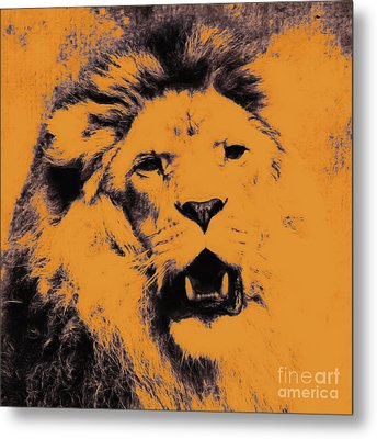 Lion Pop Art Metal Print by Angela Doelling AD DESIGN Photo and PhotoArt