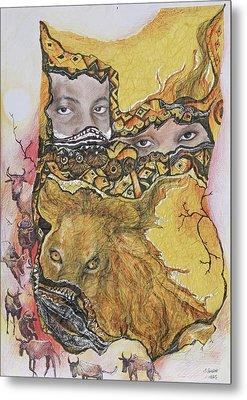 Lion Power Metal Print