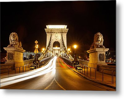 Lion Sculptures Of The Chain Bridge Metal Print by George Oze