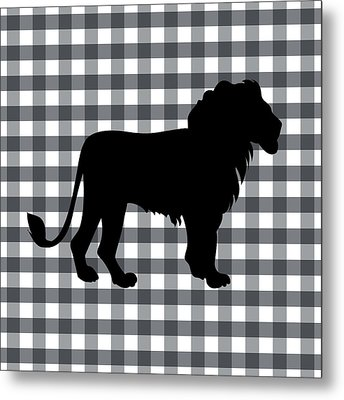 Lion Silhouette Metal Print by Linda Woods