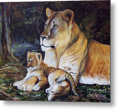Lioness And Cub Metal Print