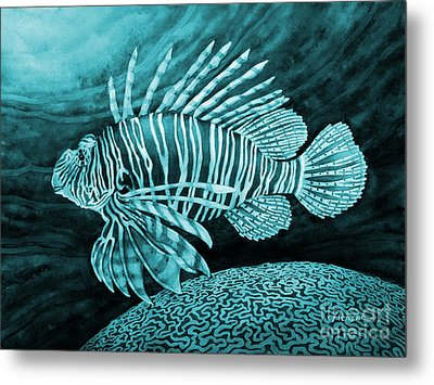 Lionfish On Blue Metal Print by Hailey E Herrera