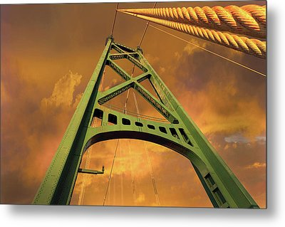 Lions Gate Bridge Tower Metal Print by David Gn
