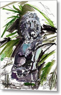 Lions Staue Of Jekyll Island Georgia Metal Print by Ginette Callaway
