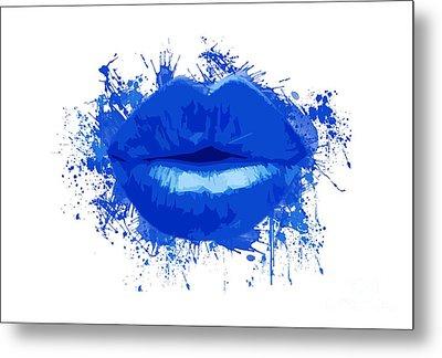 Lips - Deep Blue Watercolour  Metal Print by Prar Kulasekara