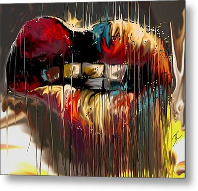 Metal Print featuring the digital art Lips Say It All by Darren Cannell