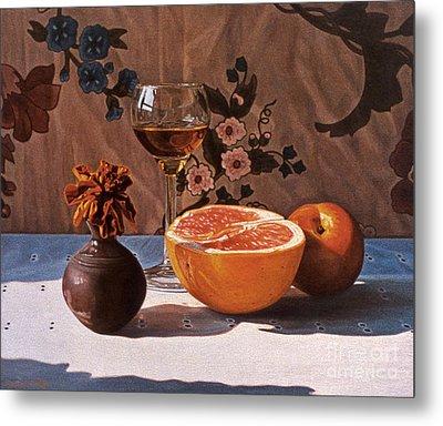 Liqueur Glass And Grapefruit Metal Print by Daniel Montoya