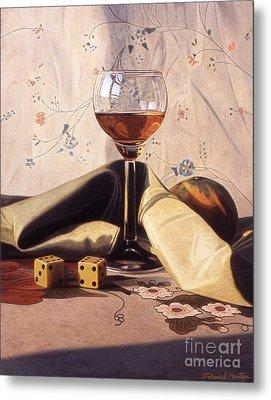 Liqueur Glass And Orange Metal Print by Daniel Montoya
