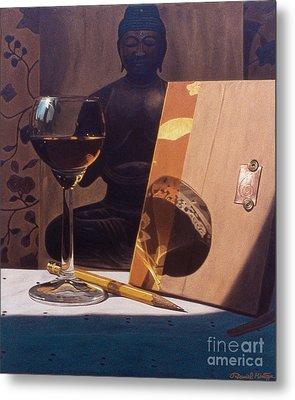 Liqueur Glass And Pencil Metal Print by Daniel Montoya