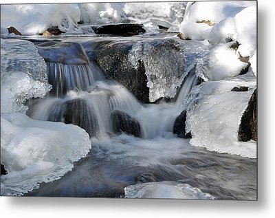 Metal Print featuring the photograph Winter Waterfall In Maine by Glenn Gordon