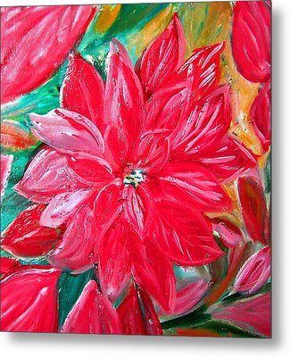 Liquid Red Poinsettia Metal Print by Patricia Taylor