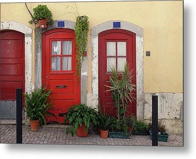 Lisbon Red Doors Metal Print