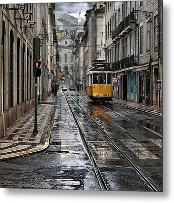 Metal Print featuring the photograph Lisbon Streets by Jorge Maia