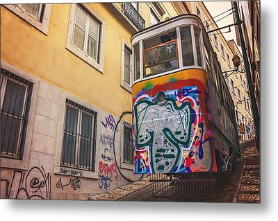Lisbon's Lively Transport Metal Print